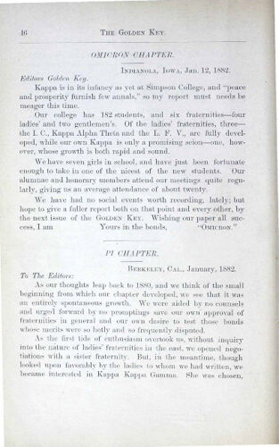 News-Letters: Pi Chapter, January 1882 (image)
