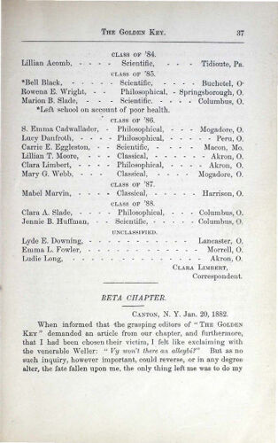 News-Letters: Beta Chapter, January 20, 1882 (image)