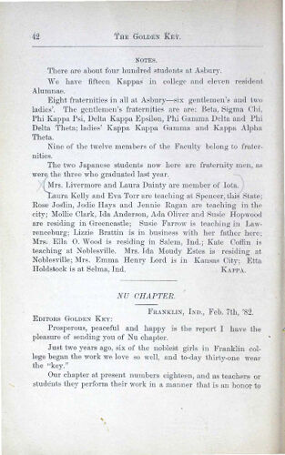 News-Letters: Nu Chapter, February 7, 1882 (image)