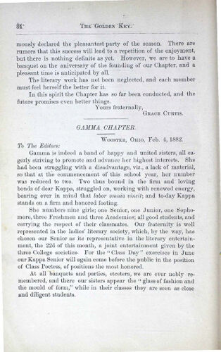 News-Letters: Gamma Chapter, February 4, 1882 (image)