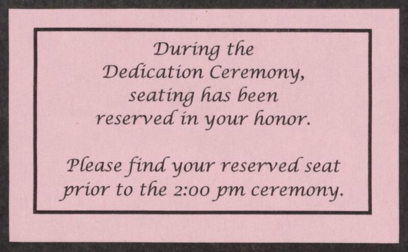 Headquarters Dedication Ceremony Reserved Seat Card, September 24, 2005 (Image)