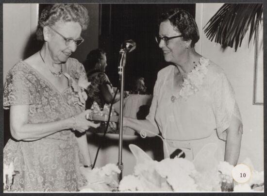 Zenobia Keller Receiving Badge at Convention Photograph, June 24-30, 1956 (image)