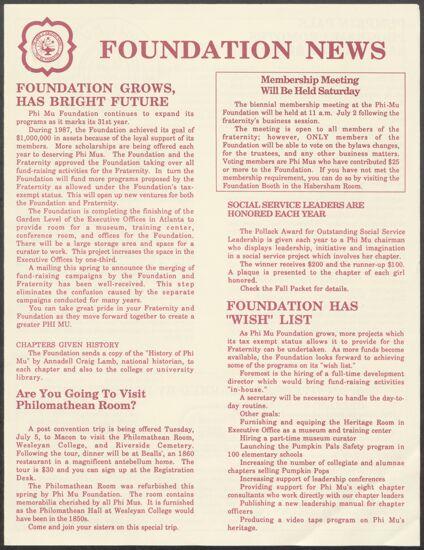 Foundation News Newsletter, 1988 (image)