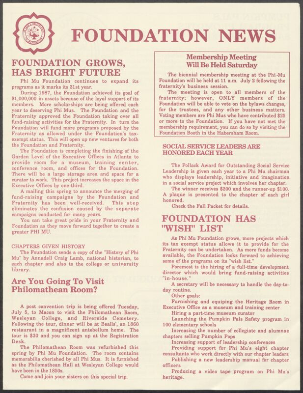 1988 Foundation News Newsletter Image