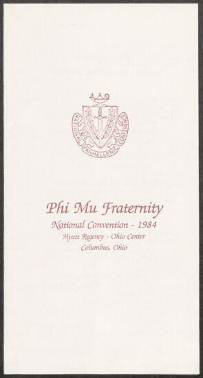 Phi Mu Fraternity National Convention Program, 1984 (Image)