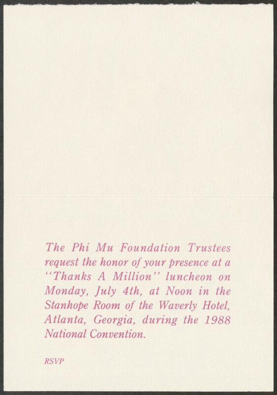 1988 Thanks a Million Luncheon Invitation Image