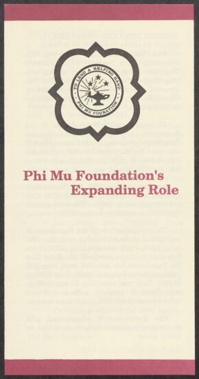 Phi Mu Foundation's Expanding Role Pamphlet, 1988 (image)