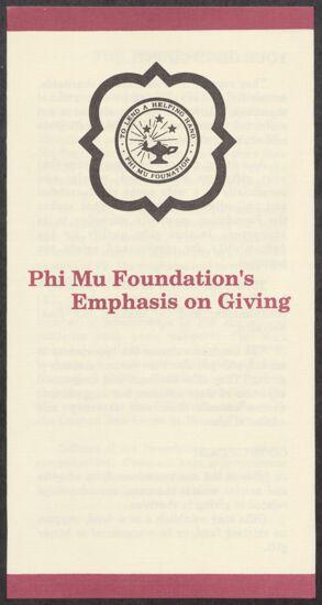 Phi Mu Foundation's Emphasis on Giving Pamphlet, 1988 (Image)