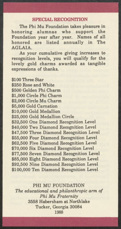 1988 Phi Mu Foundation's Expanding Role Pamphlet Image