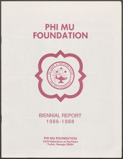 Phi Mu Foundation Biennial Report, 1986-1988 (image)