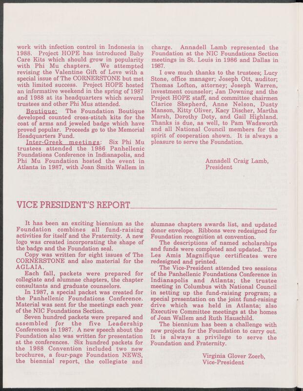 1986-1988 Phi Mu Foundation Biennial Report Image