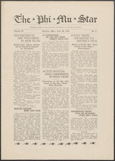 The Phi Mu Star, Vol. 4, No. 2, June 26, 1929 (image)