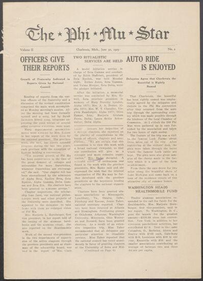 The Phi Mu Star, Vol. 2, No. 2, June 30, 1925 (image)