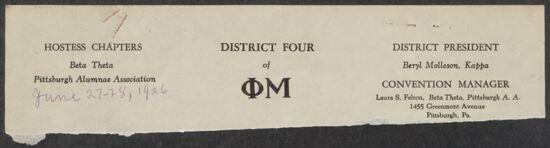 District Four Convention Minutes, June 27-28, 1926 (image)