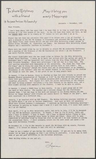 Leona Hughes Christmas Letter, December 1981 (image)