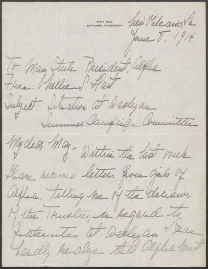 Nellie S. Hart to May Stute Letter, June 8, 1914 (Image)