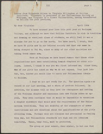 Elizabeth Wilson to Virginia Willingham Letter Copy, April 1904 (Image)