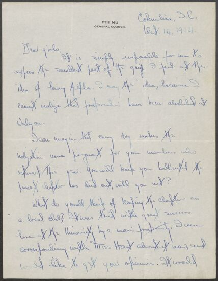 Grace Sieupkin to Alpha Chapter Letter, October 14, 1914 (Image)