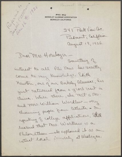 Aldwyth Rogers Arata to Mrs. Hornberger Letter, August 19, 1926 (image)