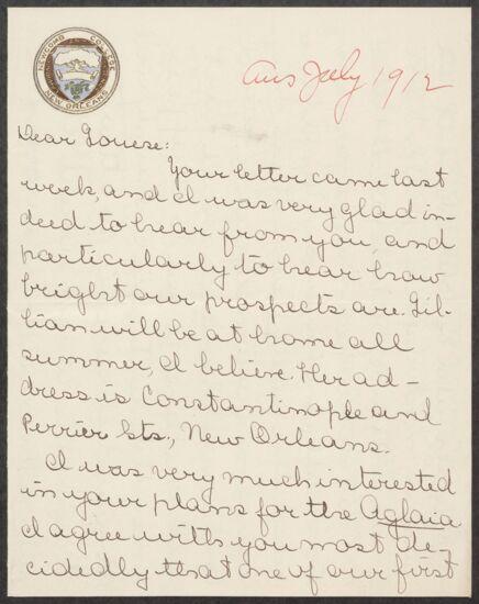 Elizabeth M. McFetridge to Louise Monning Letter, July 1912 (Image)