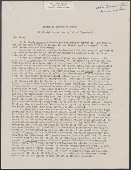 Violet Young Gentry to Fran Letter, 1946 (image)
