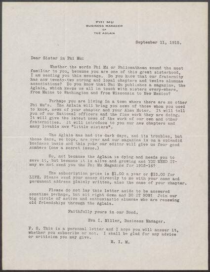 Eva I. Miller to Sisters of Phi Mu Letter, September 11, 1915 (Image)