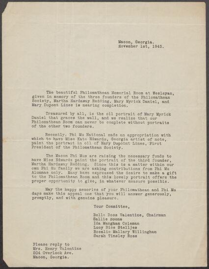 Philomathean Memorial Room Committee Letter, November 1, 1943 (image)