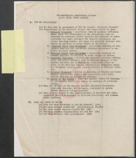 Pre-Initiation Examination Outline: Alpha Delta Theta Alumnae, 1939 (image)