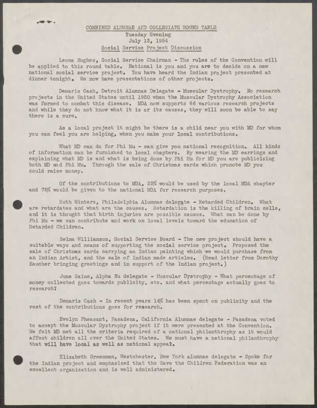 Combined Alumnae and Collegiate Round Table - Social Service Project Discussion Minutes, July 13, 1954 (Image)