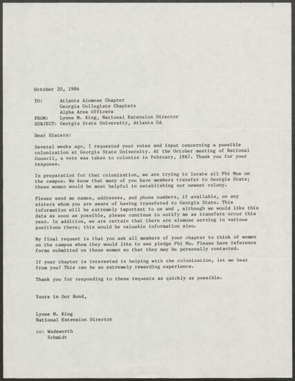 Lynne M. King to Atlanta Alumnae Chapter, Georgia Collegiate Chapters, and Alpha Area Officers Letter, October 20, 1986 (Image)