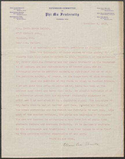 Ellen Lee Banta to Mrs. Irvin Morse Keller Letter, November 9, 1912 (Image)