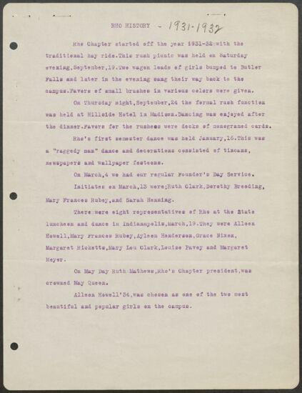 Rho History, 1931-1932 (Image)