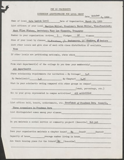 Phi Mu Fraternity Extension Questionnaire for Local Group - Zeta Lambda, October 6, 1960 (Image)