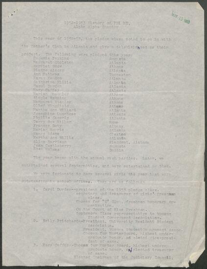 History of Phi Mu, Alpha Alpha Chapter, 1952-1953 (Image)