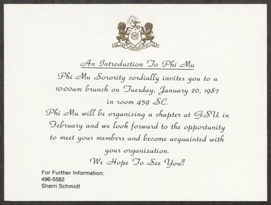 An Introduction to Phi Mu Brunch Invitation, October 20, 1987 (Image)