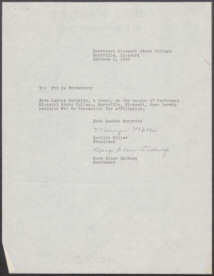 Marilyn Miller & Mary Ellen Disburg to Phi Mu Fraternity Letter, October 6, 1960 (Image)