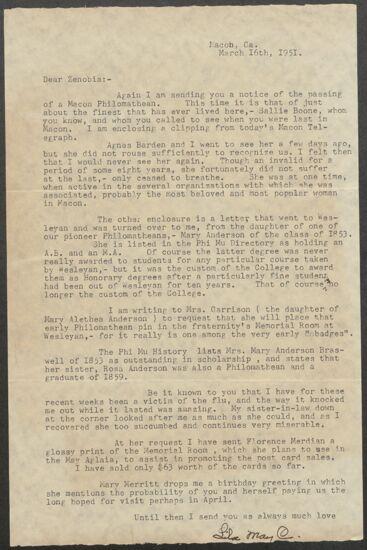 Lila May Chapman to Zenobia Wooten Keller Letter, March 16, 1951 (image)