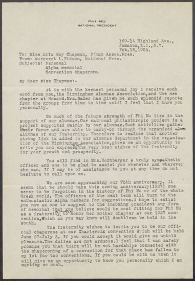 Margaret L. Eidson to Lila May Chapman Letter, February 18, 1925 (image)
