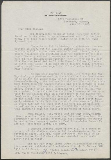Harriette S. Henderson to Lila May Chapman Letter, June 16, 1925 (image)