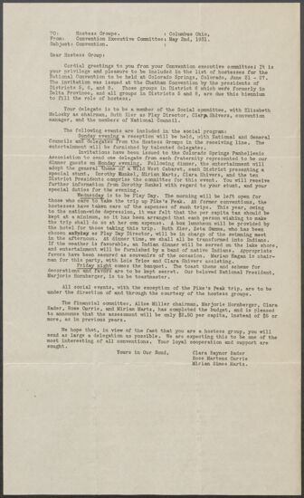 Convention Executive Committee to Hostess Groups Letter, May 2, 1931 (image)