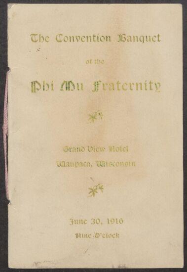 Convention Banquet Program, June 30, 1916 (Image)