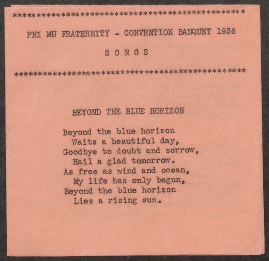 Phi Mu Convention Banquet Songs, 1936 (image)