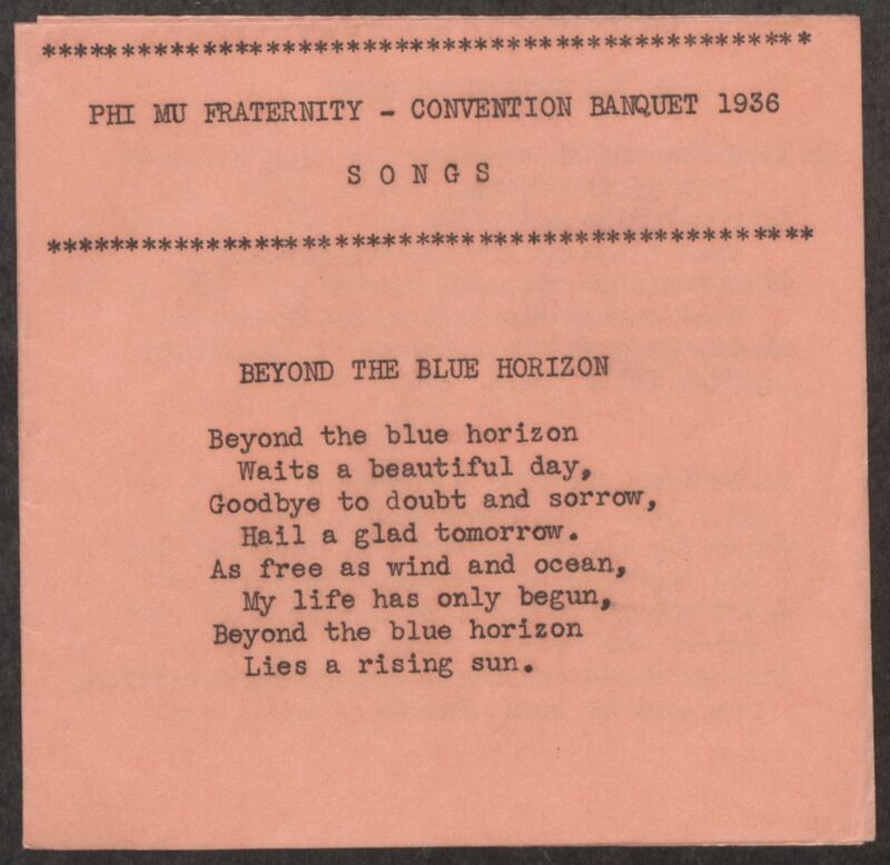1936 Phi Mu Convention Banquet Songs Image