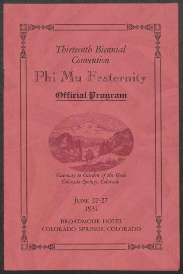 13th Biennial Convention Program, June 22-27, 1931 (image)