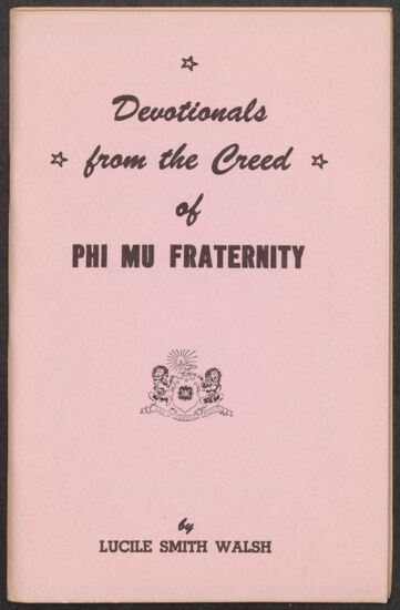 Devotionals from the Creed of Phi Mu Fraternity Booklet, 1954 (image)