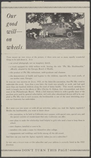 Our Good Will on Wheels Flier, c. 1922 (Image)