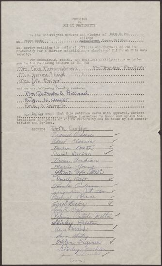 Delta Mu Phi Petition to Phi Mu Fraternity, c. 1951 (Image)