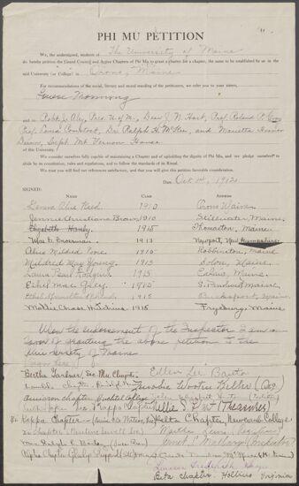 University of Maine Petition to Phi Mu Fraternity, October 14, 1912 (Image)