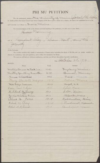 University of Maine Petition to Phi Mu Fraternity, October 28, 1912 (Image)