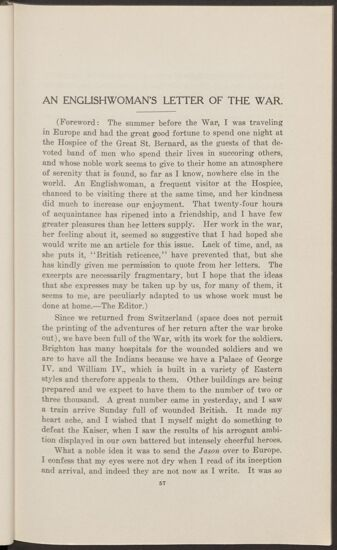 An Englishwoman's Letter of the War (Image)